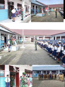 Bina Semangat Nasionalisme Kebangsaan Pelajar SMP, Danramil 13/Porsea Jadi Inspektur Upacara