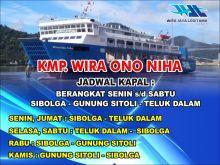KMP Wira Ono Niha Perdana Beroperasi Rabu Layani Rute Sibolga-Telukdalam PP