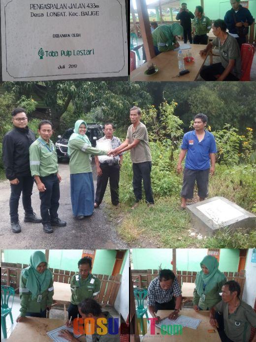 PT TPL Tbk Serah Terimakan Bantuan Pembangunan Jalan Desa Longat Balige Senilai Rp 170 Juta