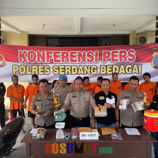 Sepekan, Polres Sergai Tangkap 9 Pelaku Kasus Narkoba,1 TSK Di Lumpuhkan